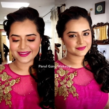 Awesome Captain Shivani all set for her Roka! Subtle pinkish orange eyes with hot pink lips. Makeup by Parul Garg. Contact 9599588312 #makeup