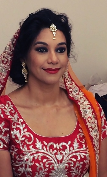 My Stunning #bride at her makeup trial #redmattelipcolor  #northindianbride #makeupartist #mua #bridalmakeup #bridalmakeupartist #soroposo #roposobride #makeupbynikkineeladri #makeupartistbangalore #WedMeAlready