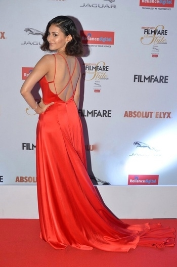 The #Filmfare #Glamour & #Style #awards #2016   #redcarpet #red fever ... Wearing a #red #satin #gown by #CarouselbySimranArya ... #diamond #jewellery by #AnmolJewellers  #backless #evening-gown