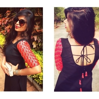 Designer baby 🕶 #kurti #designer #sequinswork #blacklove #redgold #chandbali #bangles #accessorising #aldo #animalprint #maccosmetics #rubywoo #lipstick #longhair #allgoldeverything #clutch #sangeethlook #pallavivivivi #times #roposo #timesonroposo #kurtis