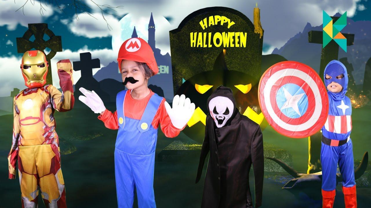 Halloween Costumes Surprise Captain America Iron Man and our own Indian Super Mario having a blast #halloween #halloweencostumes #halloween
