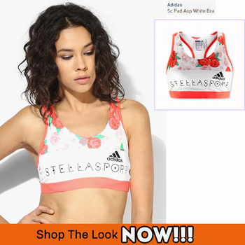 Adidas Sports Sc Pad Aop White Bra! Shop The Look-> https://goo.gl/NU6eY0 #StellaMcCartney #adidas, #Gymwear, StellaSport, #Adidas #trendinglook