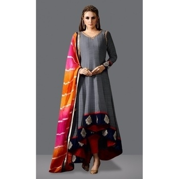 Ethnic Wear Grey & Red Fantam Silk Anarkali Suit - 71015A @ Rs.1999 /-  Buy Now : http://bit.ly/2hL8vA1   Flat 10% OFF on First Order ( Use Coupon Code - IAMNEW10 )  Get Free Home Delivery + COD + Easy EMI + Easy Refund / Replacement Policy.!!   #anarkali #anarkalisuit #partywear #womensclothing #womensonlineshopping #anarkalisalwarsuit #partywearsuit #designersuit #salwarsuit #outfit #greylove #roposolove #longanarkali #prettydress #storeadda #sale #velvetborder #ethnicwear #ethniclove