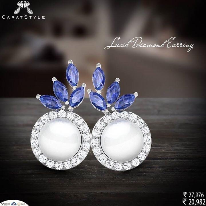A beauty in blue sapphire…Indulge! ~ https://goo.gl/5C6rm8 #pearl #diamond #earring