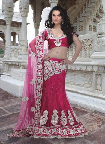 Get Elegance Personified With #Fuchsia #ZardosiWork #Party wear #Lehenga at India Emporium online shopping Store >