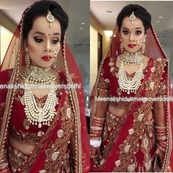 Another Pretty bride dressed at our Salon on her wedding day #meenakshidutt #mua #makeupartistsworldwide #makeupartistindia #bridalmakeupartist #bestbridalmakeupartistdelhi #weddingmakeup #indianbridalmakeup #indianbridalmakeup #indianbride #bridal