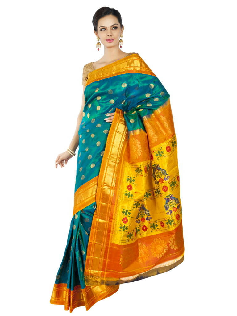 Turquoise Paithani with Mustard Borders.  Price : ₹15,120.00 or $252.00  Buy now at OnlyPaithani.com.