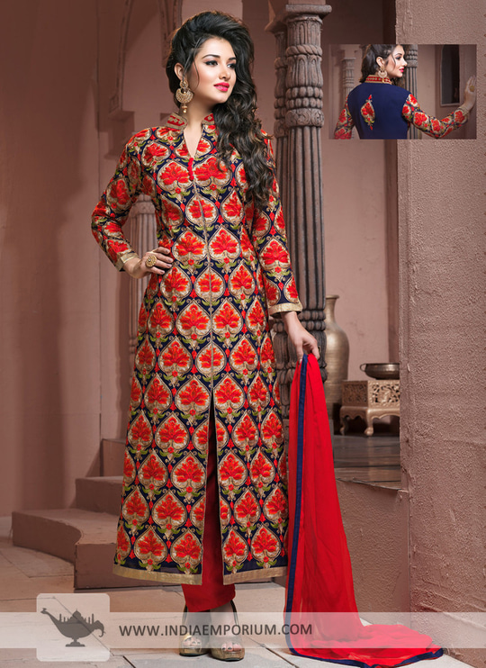 Achkan Style Suit with #Royal look #Embroidered Georgette work.