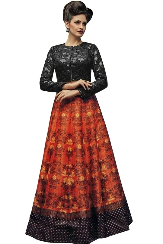 """Charcoal Grey & Orange Digital Printed Lahenga Choli@1850/- Click On:https://goo.gl/JrJC1A Order On Whatsapp on +91-7285880242 Mail Us On :- info@khantil.in Product Code :-17595""  #designer #ethnic #fashion #new-style #2017 #beauty #lehengacholi"