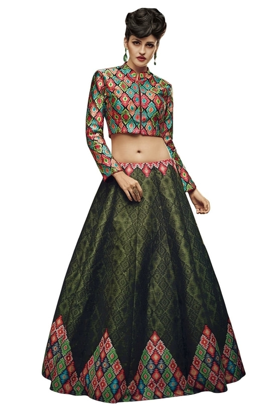 """New Latest Dark Green Digital Printed Lahenga Choli@1850/- Click On:https://goo.gl/2GwQzr Order On Whatsapp on +91-7285880242 Mail Us On :- info@khantil.in Product Code :-17592""  #designer #ethnic #fashion #new-style #2017 #beauty #lehengacholi"