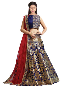 """New Navy Blue & Golden Jacquard Lahenga Choli@1850/- Click On:https://goo.gl/REmFo2 Order On Whatsapp on +91-7285880242 Mail Us On :- info@khantil.in Product Code :-17591""  #designer #ethnic #fashion #new-style #2017 #beauty #blue #lenghacholi"