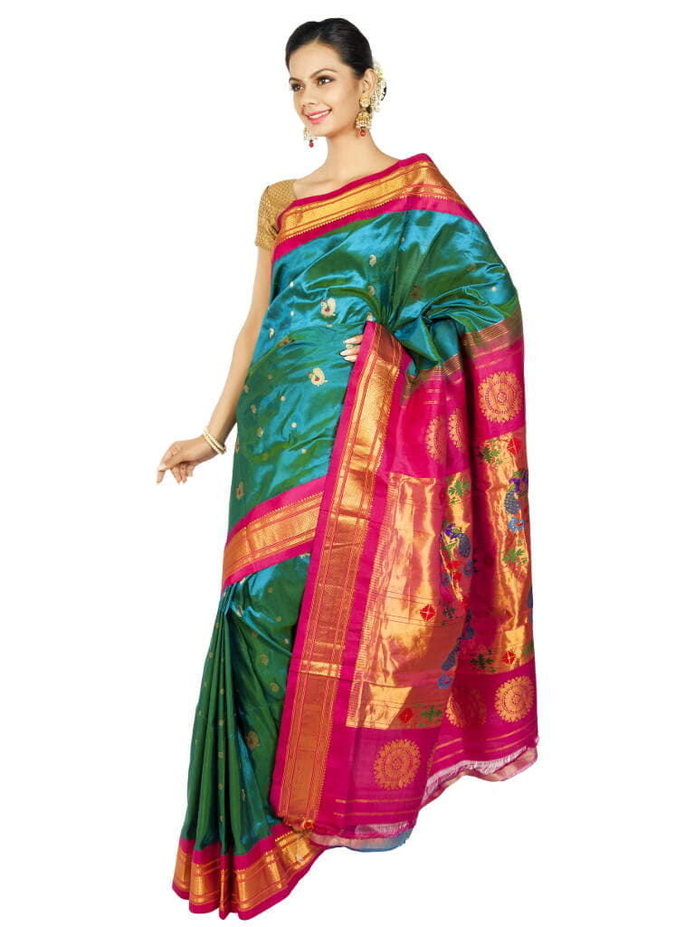 Bright Turquoise Paithani with Pink Borders. Price : ₹15,120.00 or $252.00 To buy now visit OnlyPaithani.com.  #ethnic #roposo #roposolove #wedding #designer