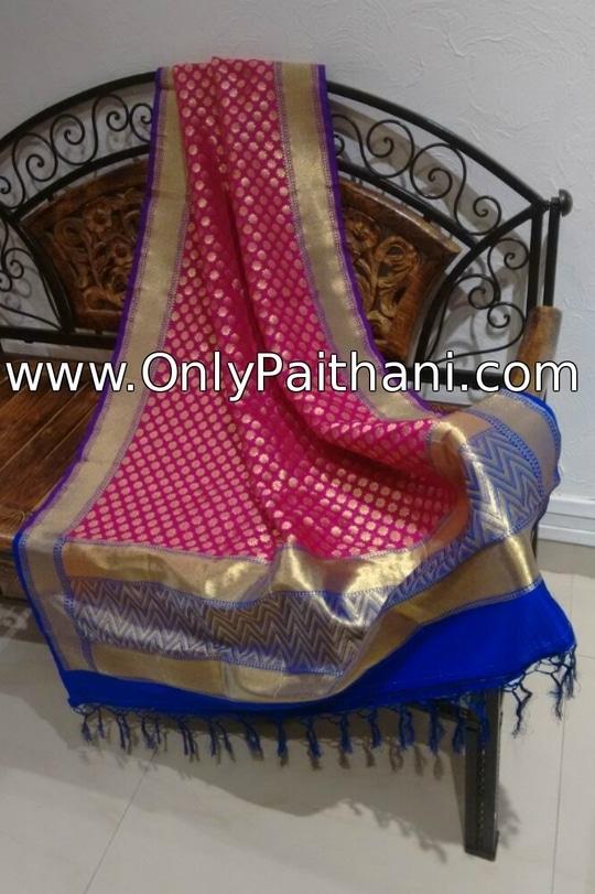 Pink Banarasi Dupatta with Purple Border. Price : ₹3,540.00 or $59.00 Click OnlyPaithani.com to purchase now.  #ethnicdupattas #silkdupatta #designerdupatta #banarasidupatta