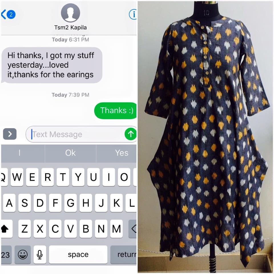 Thanks Kapila for your kind words! Do share pics when you wear them :)  Order Ikat Fusion Kurta cum Dress on whatsapp: 9986814448  #ikat #kurta #dress #black #red #kurtas