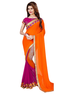 """New Designer Orange & Magenta Printed Saree @ Rs.999/- only ShopNow:https://goo.gl/yElNAk Order On Whatsapp no +91-7285880242 Mail Us On :- info@khantil.in Product code:-17604"""