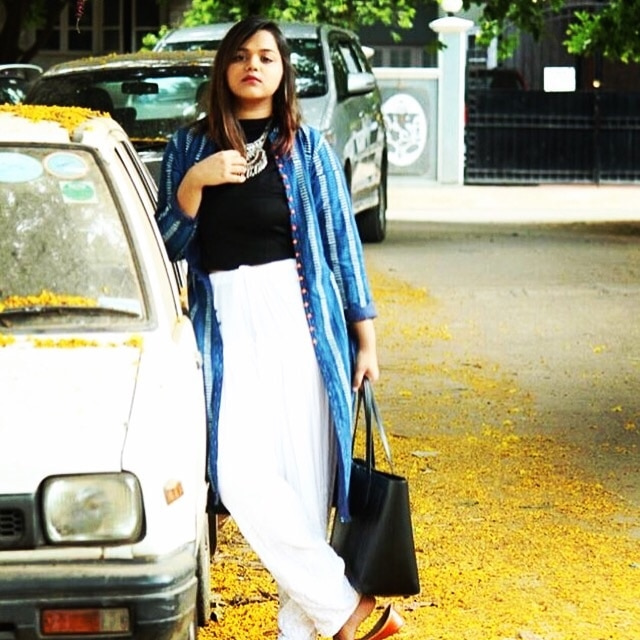 Indigo Long Jacket: Made to order only! Seen on @subtlesilhoutte  Whatsapp us to order on 9986814448  #blogger #long #jacket #purecotton #indigo