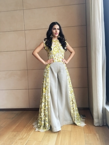 Dressed as an #indianprincess at the official press conference for #kungfuyoga ..... Wearing #manishmalhotra and #curiocottage #jewellery  Styled by #bornalitalukdar