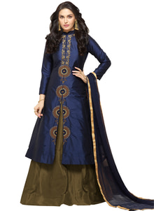 """New Dark Blue & Dark Olive Glace Cotton Indo Western Suit @ Rs.1499/- only ShopNow:https://goo.gl/4rRu01 Order On Whatsapp no +91-7285880242 Mail Us On :- info@khantil.in Product code:-17620"" #beaytifullehenga #indowestern #blue"
