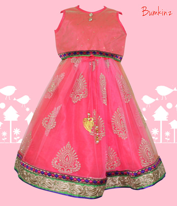 #Indianwear #Pink #Neon #Croptopskirt #Bumkinz  www.facebook.com/Bumkinz  #Dress to #Style!