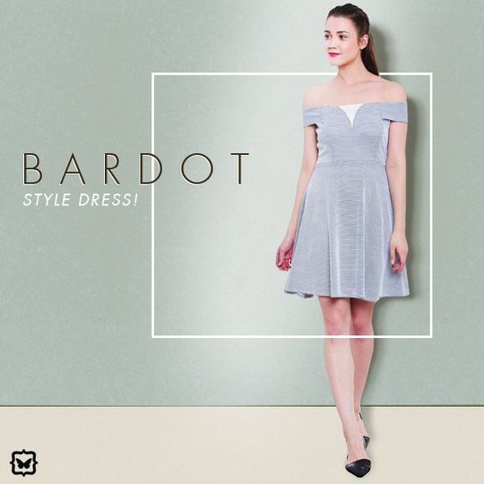 This Bardot Style Skater Dress Is An Absolute Must Have!   STYLE TOP: Wear this with wedge heels and oversized shades for a casual brunch look.Add a pop of colour to your lips to complete this look.    Shop on http://bit.ly/2jiYfNO