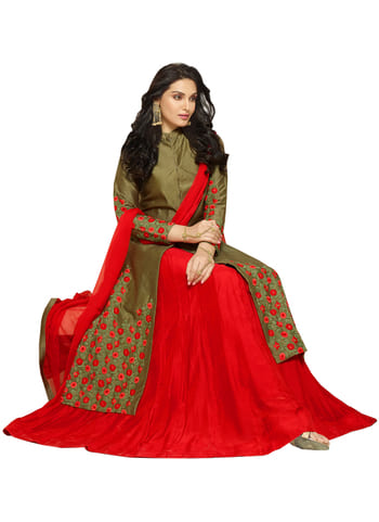 Buy Embroidered Olive & Red Glace Cotton Long Indo Western Suit @1499/*   To Shop : https://goo.gl/rKeRWD  For inquiry +91-8238424320  #party #event #mystyle #fashionmantra #whatiwore #indianwear #ethniclook #classy #soroposo #roposoaddict #roposomood #roposodiaries #beingbeautiful #lookyourbest #styleblogger