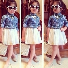 Denim shirt with skirt Size 1yrs to 7 yrs Price 1200/-rs #skirts