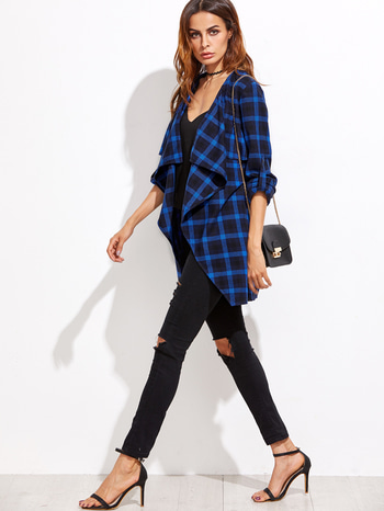 Blue Plaid Waterfall Collar Roll Sleeve Coat http://www.thefashionmart.in/ @roposotalks #soroposo #roposolove #roposoaddict @roposocontests #wedmealready #calcutta #ludhiana #indianfashionblogger #glam #gorgeous #follow4follow #traditional #sweet #makeup #designerstuff #tshirt #beauty #goals #jeans #like4like #celebrity #fashion #hot #lehenga #clothes
