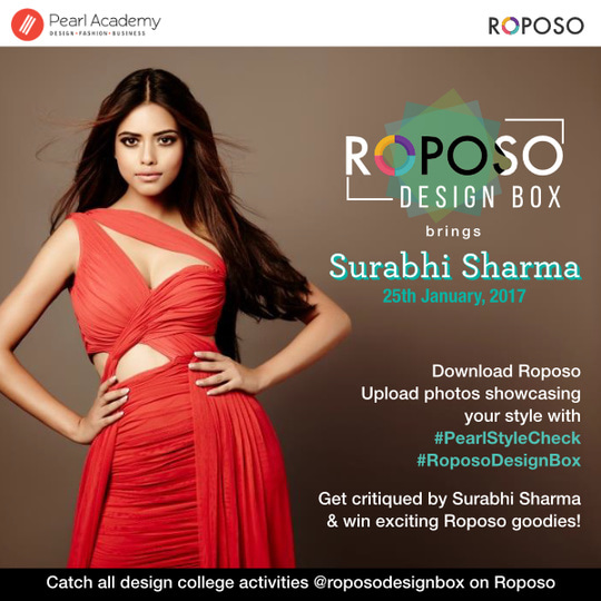 Roposo Design Box comes to Pearl, Mumbai.  Catch Surabhi Sharma on 25th January, Wednesday at Pearl Academy for a fun filled workshop.  Participate in the contest to get critiqued by Surabhi Sharma and to win exciting Roposo goodies.  #roposodesignbox #pearlacademy #surabhisharma