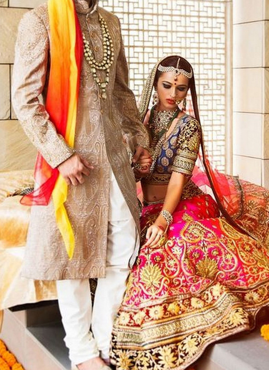 Marvelous #designer Blue & Magenta #lehengacholi with #beautiful Beige #Sherwani