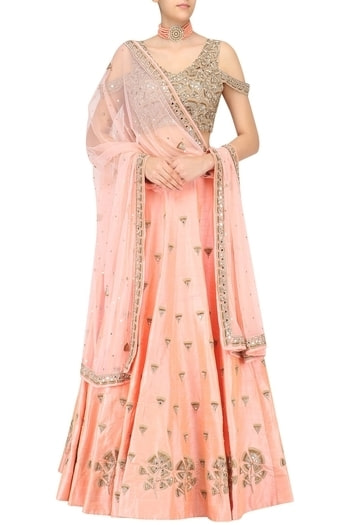 a nude peach lehenga with gingko embroidery all over. It comes along with a short sleeve open shoulder gingko embroidered blouse and a matching net dupatta with embroidered borders.