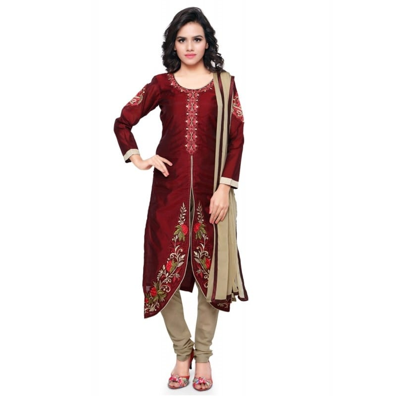 Maroon & Beige Chanderi Salwar Suit - 13947  @ Rs.1520 /- Only  Buy Now : http://bit.ly/2iWwFr2   Flat 10% OFF on First Order ( Use Coupon Code - IAMNEW10 )  Get Free Home Delivery + COD + Easy EMI + Easy Refund / Replacement Policy.!! * 100 % Customer Satisfaction  * Stitching Service Also Available    #salwarsuit #womensonlineshopping #churidarsuit #sale #storeadda #salwarkameezsuit  #embroidered #maroon #ethnicwear #punjabisuit #chanderi