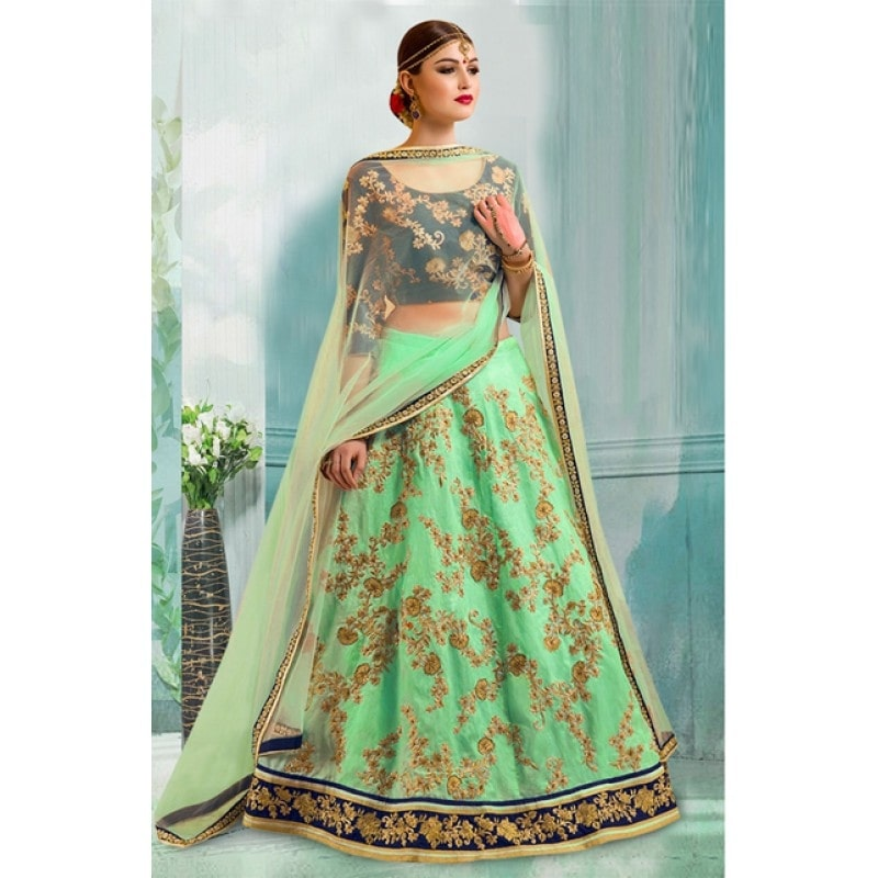 Designer Green Lehenga Choli - 60334 @ Rs.1870/ -Only  Buy Now : http://bit.ly/2jBUkOI   Flat 10% OFF on First Order ( Use Coupon Code - IAMNEW10 )  Get Free Home Delivery + COD + Easy EMI + Easy Refund / Replacement Policy.!! * 100 % Customer Satisfaction  * Stitching Service Also Available   #lehengacholi #sale #storeadda #partywear  #greenlove #designer #chaniyacholi #ghagracholi #chaniyacholi #weddingwear  #adoring #bollywoodstyle