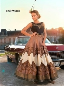 Lastest Brown Satin Silk Embroidered Gown. Price: 4100  For More Designs Check Link http://bit.ly/2jczZfL  For more information Whataap us 8097909000 Mail us on sales@nallucollection.com  #gown #gownsonline #gownsforgirls #beautiful #love #ropo-love #designer #ethnic #stye #fashion #nallucollection #digitalprinted #digitalprintgown