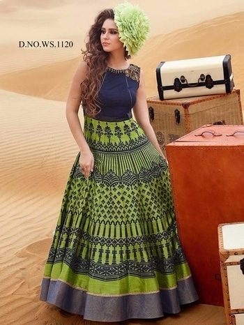 Hearty Blue And Green Silk Digital Printed Gown. Price: 4600  For More Designs Check Link http://bit.ly/2jczZfL  For more information Whataap us 8097909000 Mail us on sales@nallucollection.com  #gown #gownsonline #gownsforgirls #beautiful #love #ropo-love #designer #ethnic #style #fashion #nallucollection #digitalprinted #digitalprintgown