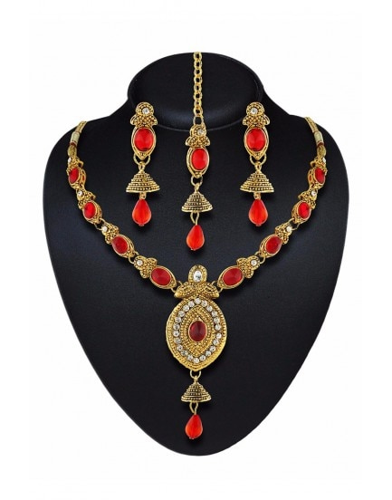 Product Code - Dis-diff-76612 Color - Gold and Red Jewellery Type - Artificial Jewellery Base Material - Metal,Alloy Ideal For - Women, Girls Gemstone Type - American Diamond, Stone Package Contains - 1 Necklace,1 Pair Of Earring,1 Mangtikka  Shop Now - http://www.daindiashop.com/jewelry?product_id=16955  #Necklace #PairOfEarring #Earring #Mangtikka #Jewellery #Jewelry #AmericanDiamond #Stone #Gold #Diamond