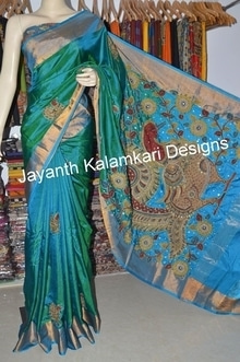 Pen Kalamkari patch work saree
