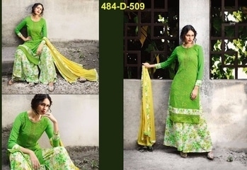 Fabric,,, Pure Gorgette With Heavy Work bottom : Heavy Crepe Print (3.00 m) Duptta : Heavy Naaznin with print lace Innewr - Crepe (2.00 M ) Unstich Dress material Single And Full set availablle  Single Price only 1100+$