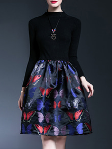Black Butterfly Print Knit A-Line Dress #ordernow   http://thefashionmart.in/  #mood #followme #beautiful #beauty #saree #jewellery #bollywood #desi #wedding #newdp #style #roposolove #selfieoftheday #blogger #designer #fashion #winterfashion #winter #ootd #ethnic #roposodaily #roposo #ropo-love #love #soroposo #fashionblogger #makeup