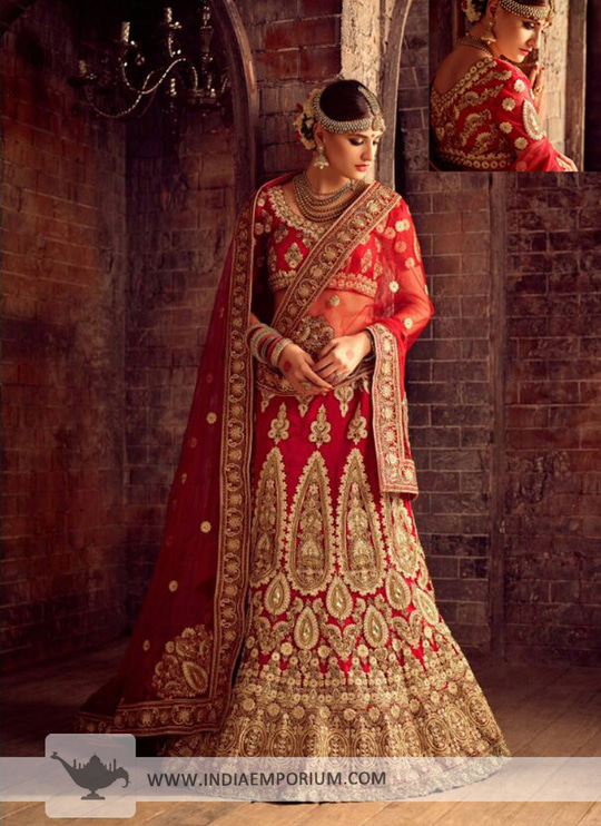 #Beautiful #Bridal Red Velvet #LehengaCholi with Kundan Work >> Explore at Indiaemporium online Store