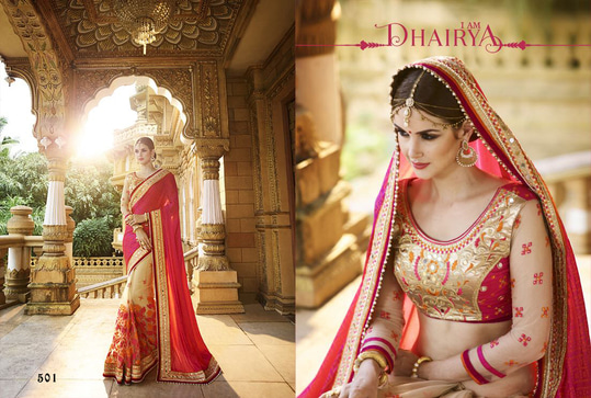 Heavy Designer Wedding Sarees Collection			 		  Add us on WhatsApp (+91-99250-45438) for immediate Order.  Available in Store Now  For More Visit us : http://ethnicsuit.com  Follow us : https://plus.google.com/communities/100561777409598151063