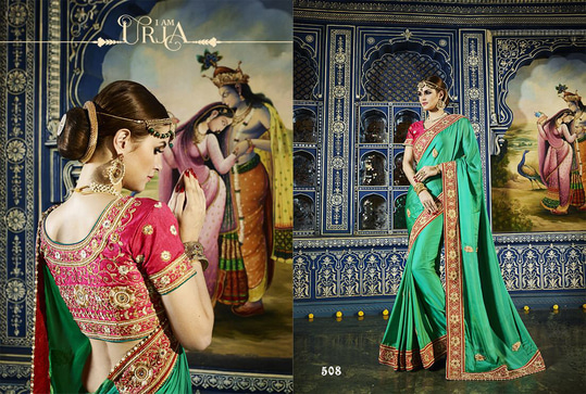Heavy Designer Wedding Sarees Collection			 		  Add us on WhatsApp (+91-99250-45438) for immediate Order.  Available in Store Now  For More Visit us : http://ethnicsuit.com/  Follow us : https://plus.google.com/communities/100561777409598151063