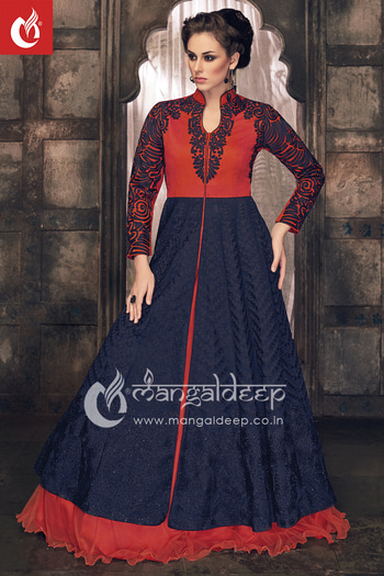 Enriched your look for your #party or an occasion by this Eyecatching Blue And Orange #Silk And #Net Readymade #IndowesternSuit.  Grab it now :- https://goo.gl/cuAEYL  👗👚 For Live Shopping Click This Link :- https://goo.gl/3tCilt For more information :- Call us @+919377222211 (Whatsapp Available)
