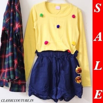 End of Season Sale 🛍 Yellow Pom Pom Tee : &499/- Navy Blue Crochet Shorts : ₹899/- (CC2564) Plaid Shirt : ₹599/- (CC2754) Shop 👉🏻 CLASSICCOUTURE.IN  Whatsapp no. 9811972736 Enjoy 😊  10% off on orders ₹1000+ (SHOP10) 25% off on orders ₹2000+ (SHOP25) 40% off on orders ₹3000+ (SHOP40) PAYTM / COD / CREDIT/DEBIT CARD PAYMENT / NEFT. ✔