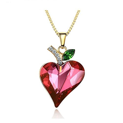 Kaizer #Jewelry Red Pink Swarovski Element Heart #Pendant 14K Gold Plated for Women @ Rs.949. Buy Now at http://bit.ly/2jAVsQa