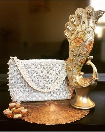 Stunning Silver Fancy Clutch Bag with the Pearl Beaded.Can be customised in any colours.