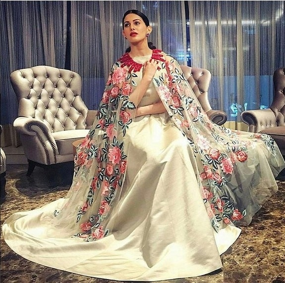 Amyra Dastur In A Beautifully Embroidered Gown ,Designed By Manish Malhotra