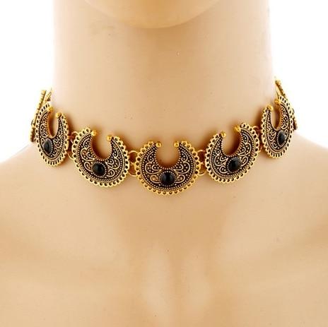 """2017 Contemporary metal carved quarter moon shaped antique golden choker necklace .....""#neckpiecechokertrendylatestjewelleryjewelry"