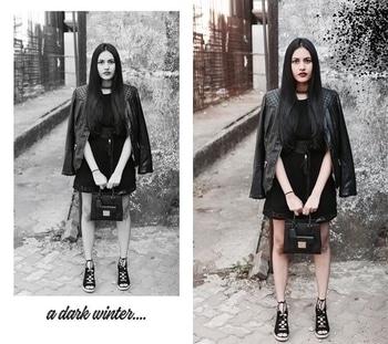 // A dark winter ft. @newlookfashion @zara @zaraindiaofficial @stylefiesta @michaelkors @riverisland #ImWearingRI ⛄️ | #Ootd #OutfitOfTheDay #Romper #Jacket #Choker #Belt #Tassels #Black #WinterFashion #WinterHues #PersonalStyle #StreetStyle | Hair and makeup @dessangemumbai @sneha1311 | Photography @kee_bee | #POPxoBlogNetwork #POPxoBlogger @popxodaily | #Fashion #Blog #FashionBlogger #India #IndianFashionBlogger #IndianBlogger #Mumbai #MumbaiBlogger #InstaDaily #DailyFeature #NitikaChoraria #TheGlitterCrumb x