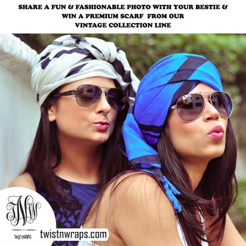 So do u think u & your best friend have the same level of craziness Level  .. if yes then share the best photos of yourself with your best friend & stand a chance to win a premium scarf from our Vintage line .. pls make sure u should be clicked together & it should be a fun & stylish pict . This competition stand for all categories .. so come & share the pict now . #twistnwraps #contesttime #mybestfriend&me  Terms & Condition  1)Tag all your friends in the picture you will share to participate   2) Share the post with atleast 5 Friends   3) Share 1 quote which you think suit best for your friendship   4) Let us know for how many years you have been friends together.   5) Picture shared on our Facebook page only will be acceptable . Pls click the link below  https://www.facebook.com/twistnwraps/  Isn't it so simple to be a winner . So Why to Wait. Share & win
