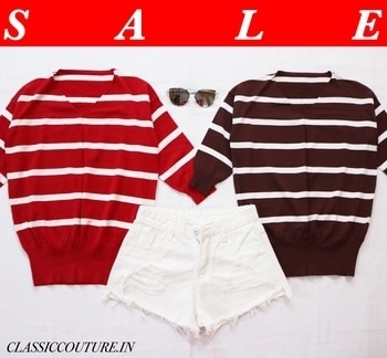 End of Season Sale 🛍 Stripe V Neck Pullover : ₹899/- each (CC2865, CC2864) White Ripped Denim Shorts : ₹1099/- (CC2806) Silver Wrap Cat Eye Sunglasses : ₹1099/- (CC2418) Shop 👉🏻 CLASSICCOUTURE.IN Whatsapp no. 9811972736 Enjoy 😊  10% off on orders ₹1000+ (SHOP10) 25% off on orders ₹2000+ (SHOP25) 40% off on orders ₹3000+ (SHOP40) PAYTM / COD / CREDIT/DEBIT CARD PAYMENT / NEFT. ✔